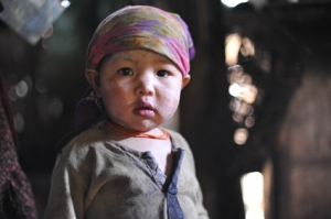A curious three year old in Burma
