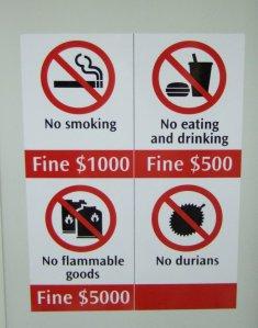 Durian forbidden!