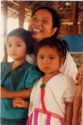 Rose Mu and two children, 1997