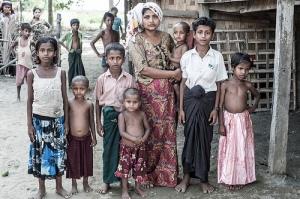 Rohingya widow and children
