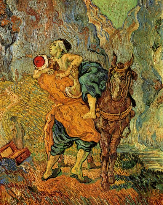 The Good Samaritan. Did he have pure motives? Beautiful painting by van Gogh.