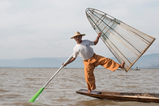 inle lake fisherman with basket